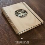 Agendă gravată din lemn cu copertă pliabilă - A5