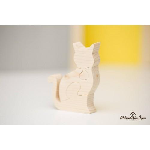 Pisică puzzle lemn